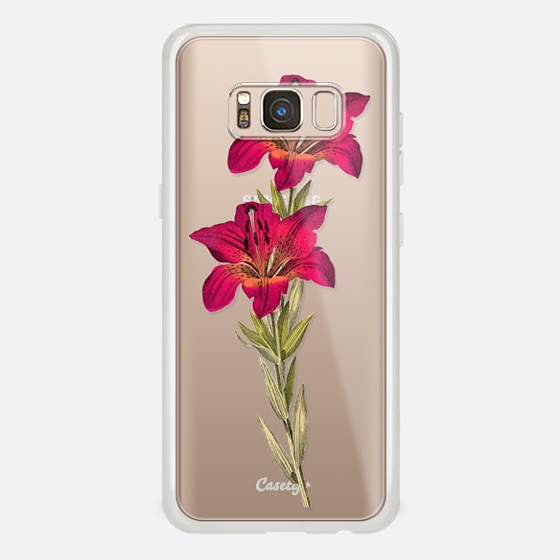 Galaxy S8 Hülle - Vintage magenta orange green colorful lily floral