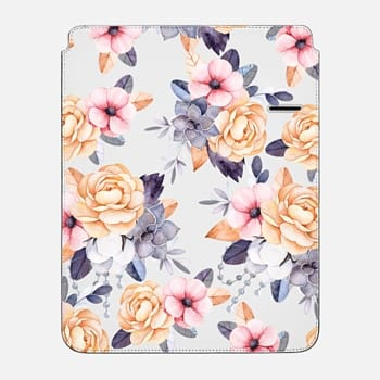 "iPad Pro 12.9"" Sleeve Blush pink purple orange hand painted watercolor floral"