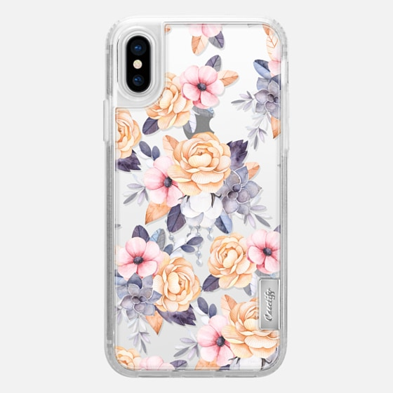 iPhone X Case - Blush pink purple orange hand painted watercolor floral