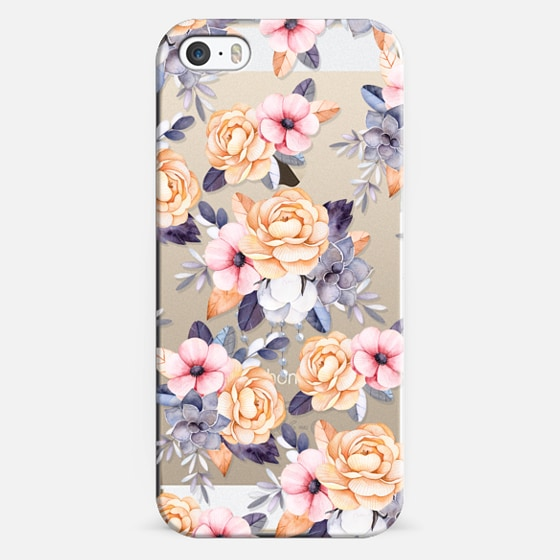 iPhone 5s Case - Blush pink purple orange hand painted watercolor floral