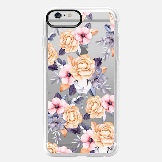 iPhone 6 Plus Capa - Blush pink purple orange hand painted watercolor floral