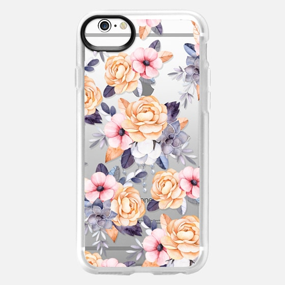iPhone 6 Case - Blush pink purple orange hand painted watercolor floral