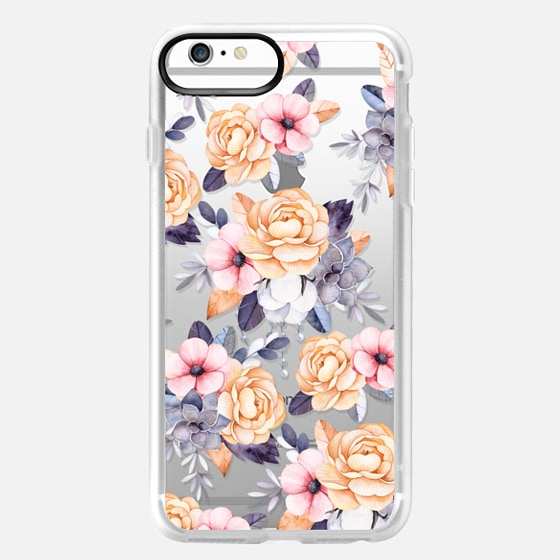 iPhone 6s Plus Capa - Blush pink purple orange hand painted watercolor floral
