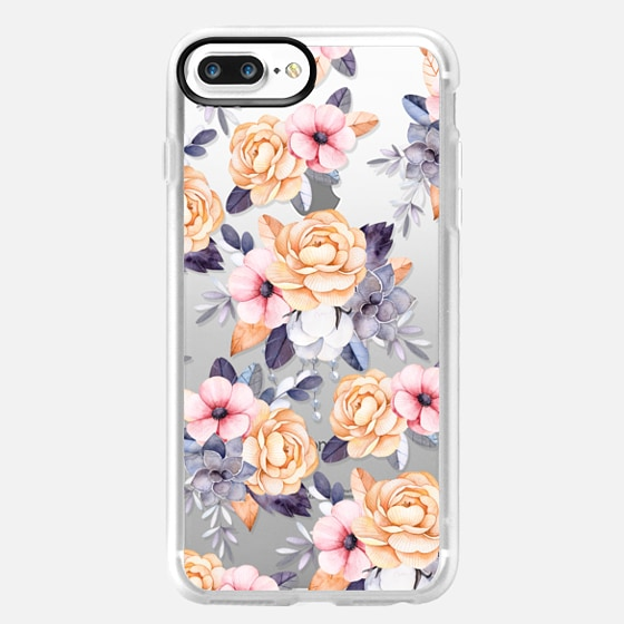 iPhone 7 Plus Case - Blush pink purple orange hand painted watercolor floral