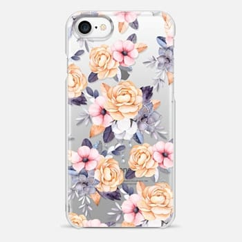 iPhone 7 Case Blush pink purple orange hand painted watercolor floral