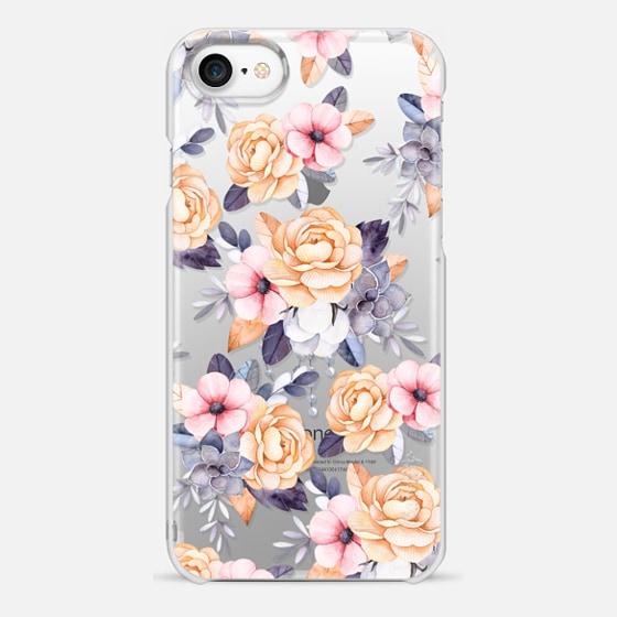 iPhone 7 เคส - Blush pink purple orange hand painted watercolor floral