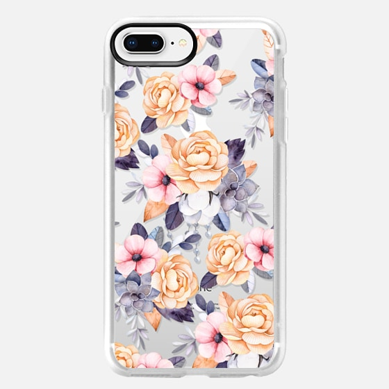 iPhone 8 Plus เคส - Blush pink purple orange hand painted watercolor floral