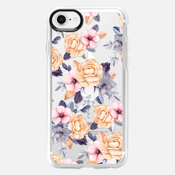 iPhone 8 Case - Blush pink purple orange hand painted watercolor floral