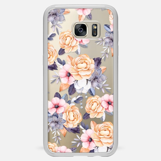 Galaxy S7 Edge Capa - Blush pink purple orange hand painted watercolor floral