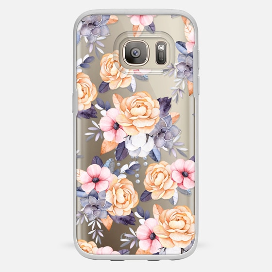 Galaxy S7 เคส - Blush pink purple orange hand painted watercolor floral