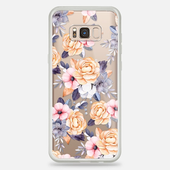 Galaxy S8+ Capa - Blush pink purple orange hand painted watercolor floral