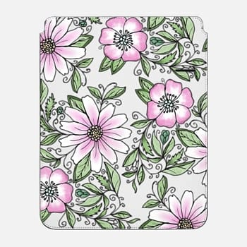 "iPad Pro 12.9"" Sleeve Blush pink green watercolor hand painted floral"