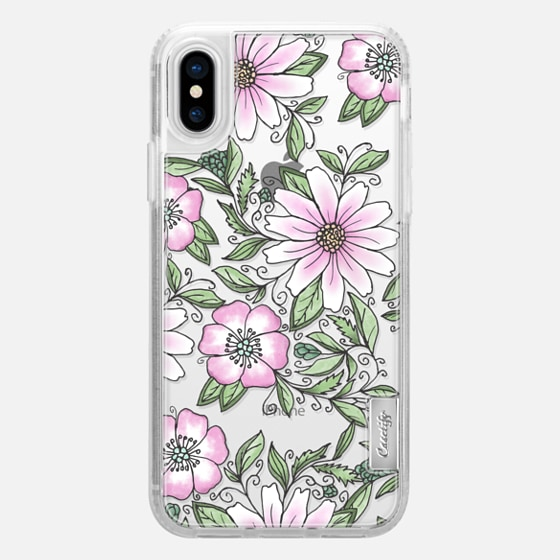iPhone X เคส - Blush pink green watercolor hand painted floral