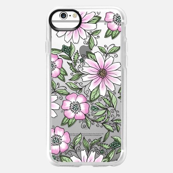 iPhone 6 Case - Blush pink green watercolor hand painted floral