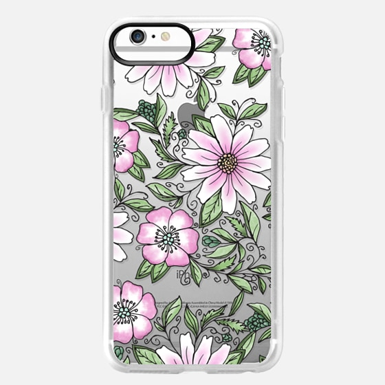 iPhone 6s Plus Capa - Blush pink green watercolor hand painted floral