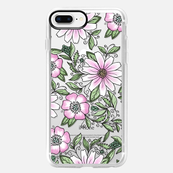 iPhone 8 Plus Capa - Blush pink green watercolor hand painted floral
