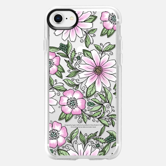 iPhone 8 Case - Blush pink green watercolor hand painted floral