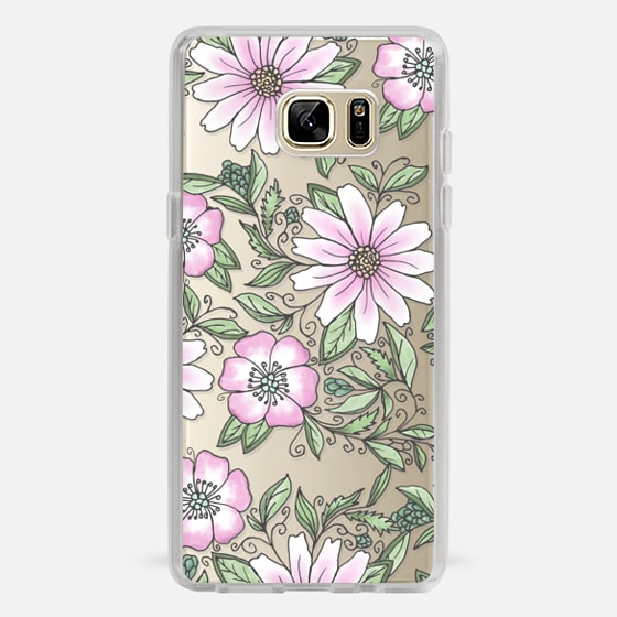 Galaxy Note 7 Case - Blush pink green watercolor hand painted floral