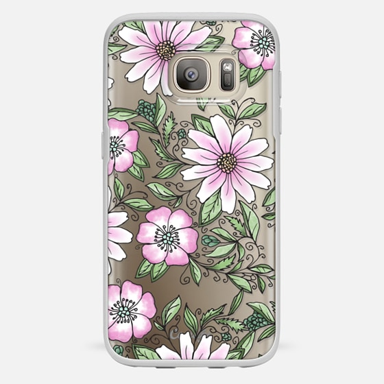 Galaxy S7 Case - Blush pink green watercolor hand painted floral