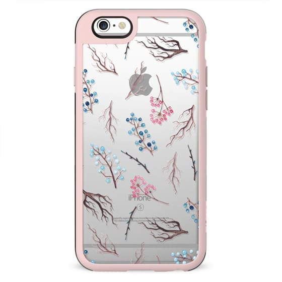Hand painted winter blue pink watercolor floral