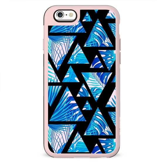 Modern tropical blue blush pink geometrical floral