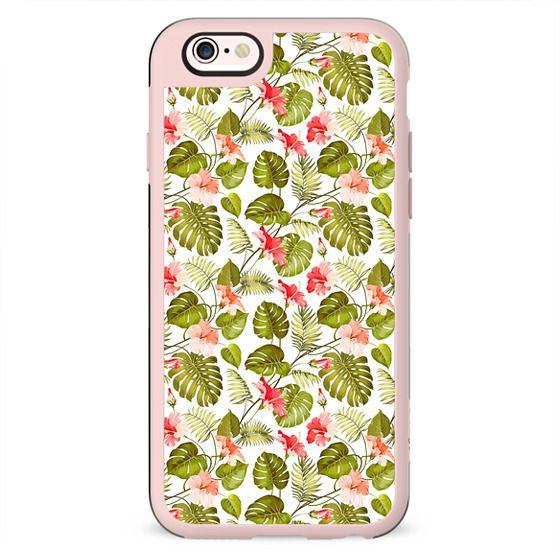Tropical blush pink green modern vector floral pattern