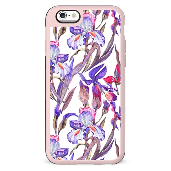 Modern artistic violet pink watercolor hand painted irises pattern
