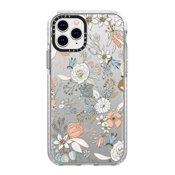 iPhone 11 Pro Cases - Abstract modern coral white pastel rustic floral