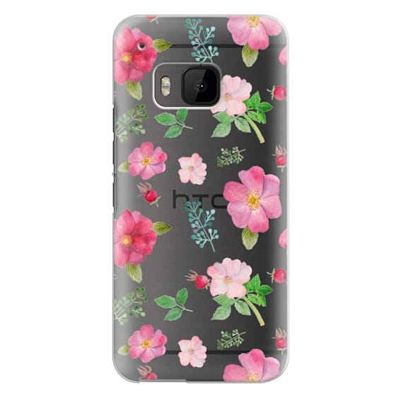Htc One M9 Cases - Botanical pink country roses hip floral pattern
