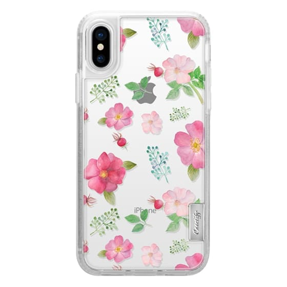 iPhone X Cases - Botanical pink country roses hip floral pattern