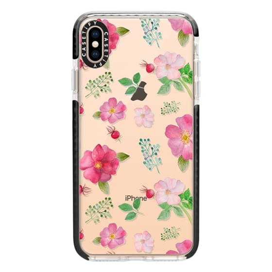 iPhone XS Max Cases - Botanical pink country roses hip floral pattern