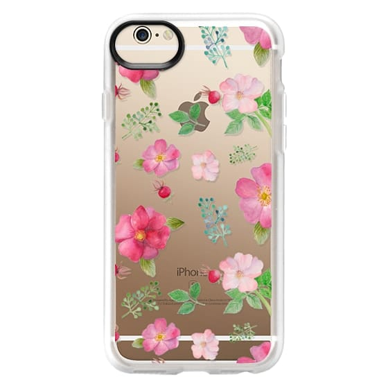iPhone 6 Cases - Botanical pink country roses hip floral pattern