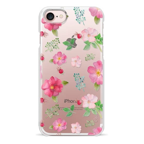 iPhone 7 Cases - Botanical pink country roses hip floral pattern