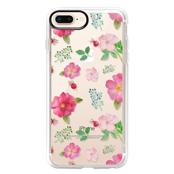iPhone 8 Plus Cases - Botanical pink country roses hip floral pattern