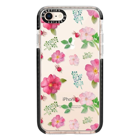iPhone 8 Cases - Botanical pink country roses hip floral pattern