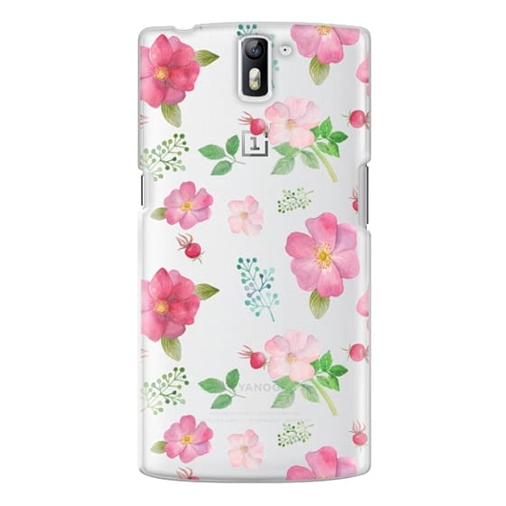 One Plus One Cases - Botanical pink country roses hip floral pattern