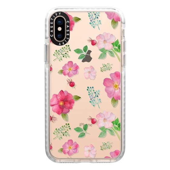 iPhone XS Cases - Botanical pink country roses hip floral pattern