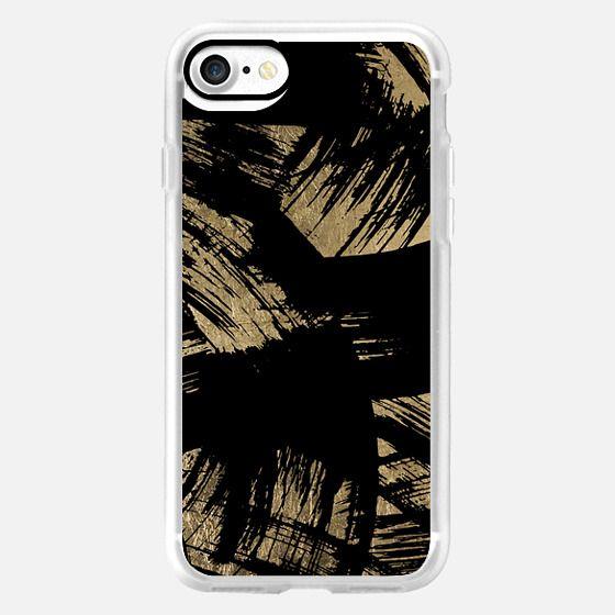 Elegant black faux gold brushstrokes pattern -
