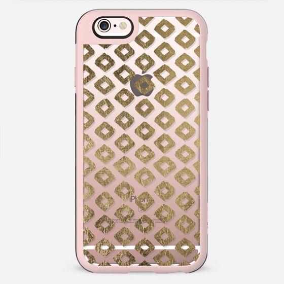 Elegant white faux gold foil geometric diamond pattern - New Standard Case