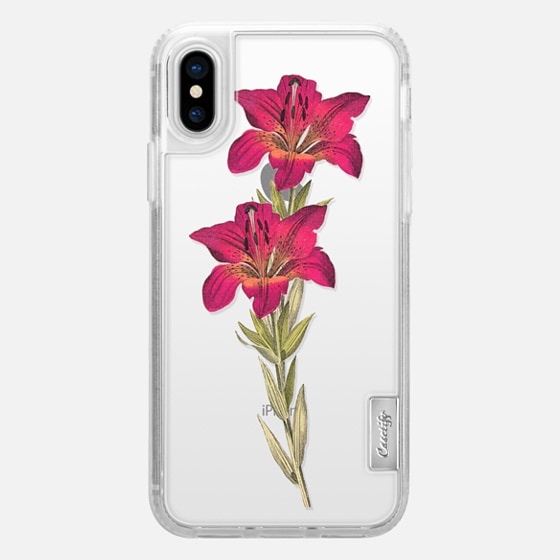 iPhone X 케이스 - Vintage magenta orange green colorful lily floral