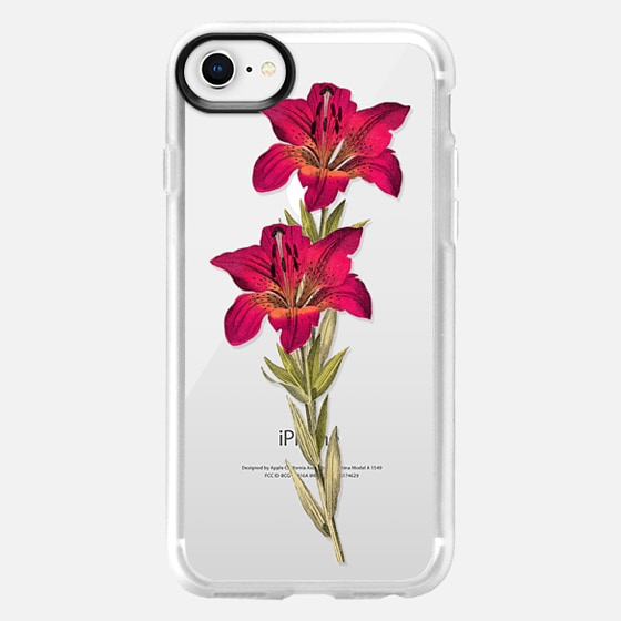 iPhone 8 Case - Vintage magenta orange green colorful lily floral