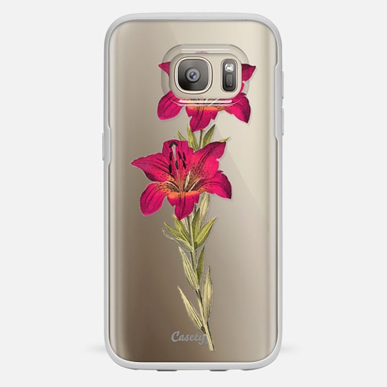 Galaxy S7 ケース - Vintage magenta orange green colorful lily floral