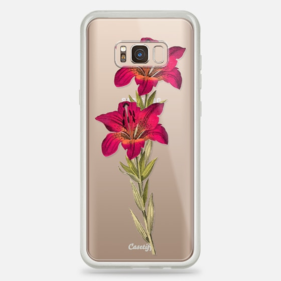 Galaxy S8+ Case - Vintage magenta orange green colorful lily floral