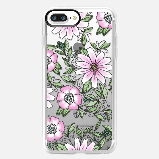 iPhone 7 Plus 保護殼 - Blush pink green watercolor hand painted floral