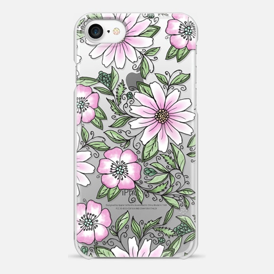 iPhone 7 ケース - Blush pink green watercolor hand painted floral