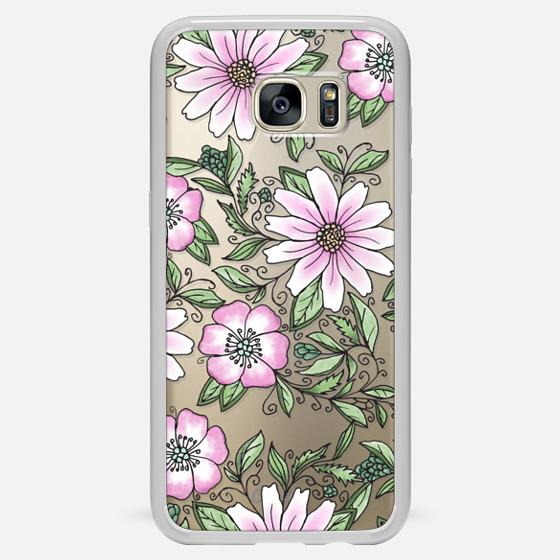 Galaxy S7 Edge Funda - Blush pink green watercolor hand painted floral