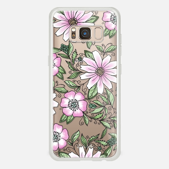 Galaxy S8 Case - Blush pink green watercolor hand painted floral