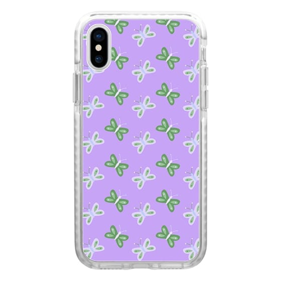 iPhone 7 Plus Cases - Modern artistic violet green butterfly illustration pattern