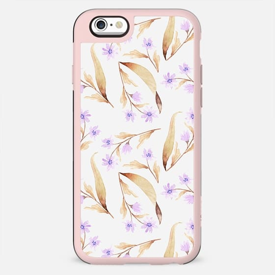 Watercolor lilac lavender brown hand painted floral illustration