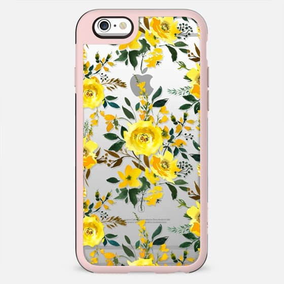 Modern hand painted yellow orange watercolor floral - New Standard Case